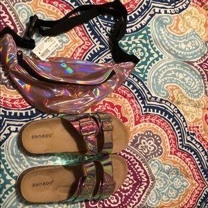 Iridescent slides and fanny pack bundle